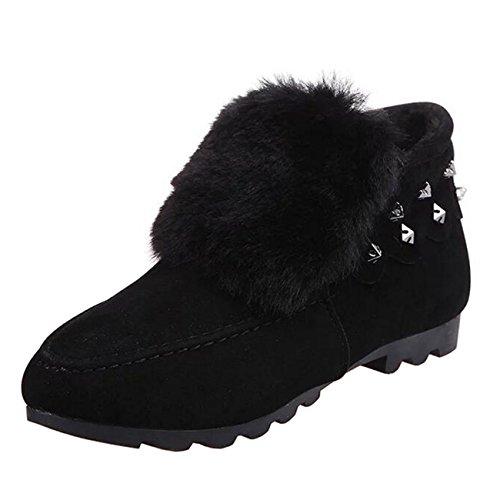 Binying Women's Round-Toe Rivet Flat Slip-on Fur Ankle Boots Black UY8Xy