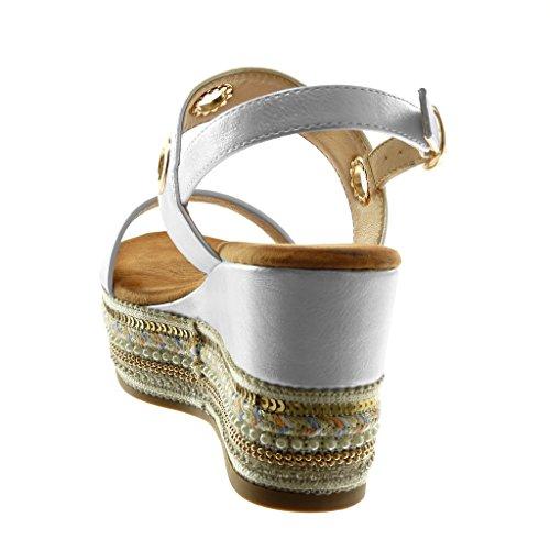 Folk Brillantes Plataforma de Perforado Zapatillas Plataforma Tobillo 9 Blanco Sandalias Mules Fantasía Moda Correa cm Mujer Angkorly 8x1ApPq