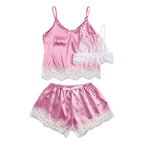 (YY1950s 3Pc Women's Sexy Satin Lace Bow Silk Sling No Steel Support No Buckle Lace Print Adjustable Shoulder Strap Women's Boxer Vest Shorts Set Pajamas Pajamas Underwear (Hot Pink, XL))