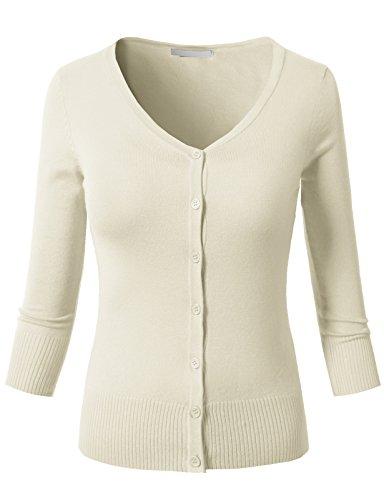 H2H Womens 3/4 Sleeve V-Neck Knit Cardigan Ivory L (3/4 V-neck Cardigan Sleeve)
