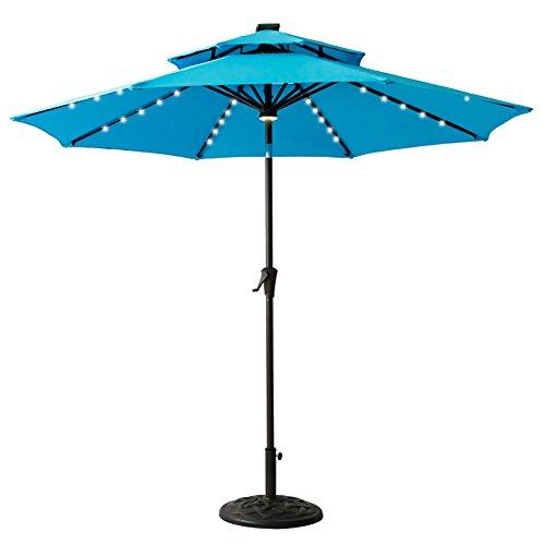 FLAME&SHADE 9' Round LED Double Top Outdoor Patio Umbrella with Solar Lights, Crank Lift, Push Button Tilt, Aqua (Umbrella Top)