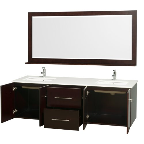 new Wyndham Collection Centra 72 inch Double Bathroom Vanity in Espresso with White Man-Made Stone Top with Square Porcelain Undermount Sinks