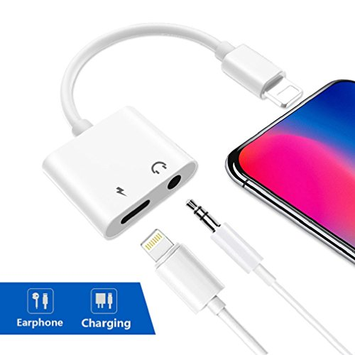 Lightning to 3.5mm Adapter for iPhoneX10 8/8 Plus 7/7 Plus Earphone Adaptor Aux Audio Accessories Cable Splitter Charge+Music Headphone Convertor Dongle Earbuds Lightning Cable Charge Splitter(white)