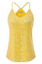 Briht Yellow Sequin Sleeveless Camisole Tank Top