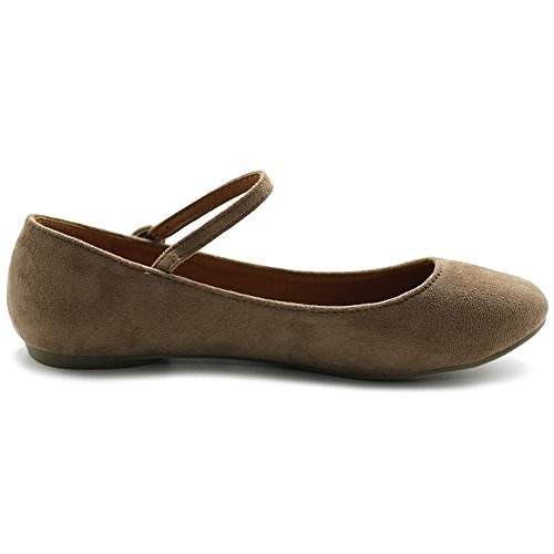 Ollio Chaussures Femme Ballet Lumière Faux Daim Mary Jane Appartements Taupe