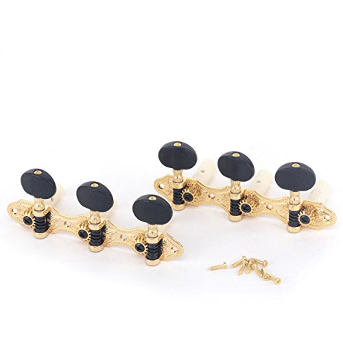 Musiclily Pro Set of 2 x 3 on A Plate Baker Style Classical Guitar Machine Heads Tuning Pegs Keys Tuners, Gold