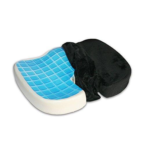 Orthopädisches Sitzkissen aus Memory-Schaum mit Gel-Beschichtung, druckentlastend und schmerzlindernd bei Steißbein-Problemen und Rückenschmerzen (Schwarz, Velour)