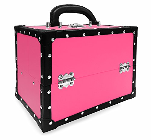 BR Carry All Trunk Train Case with Makeup and Reusable Case Makeup Gift Set (Pink) 2