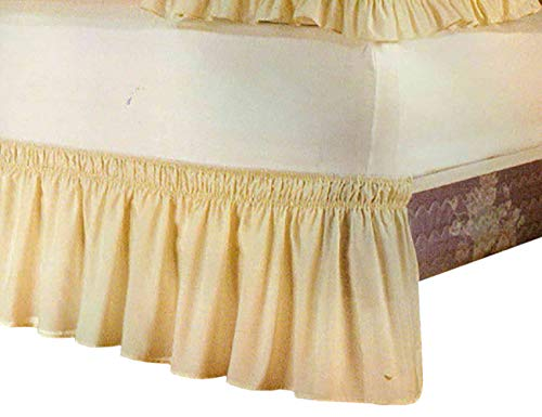 (ShiyiUP Bed Skirts with Solid Color Ruffle Wrap Around The Bed)