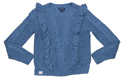 Polo Ralph Lauren Big Girls Ruffled Aran Knit Pullover Sweater