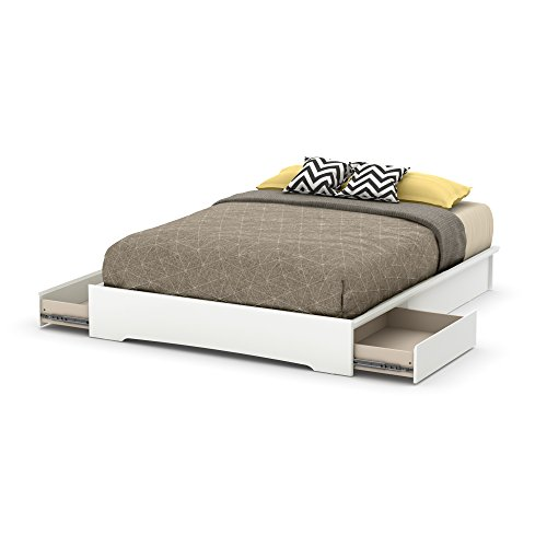 South Shore Basic Platform Bed with 2 Drawers, Queen 60-Inch, Pure White