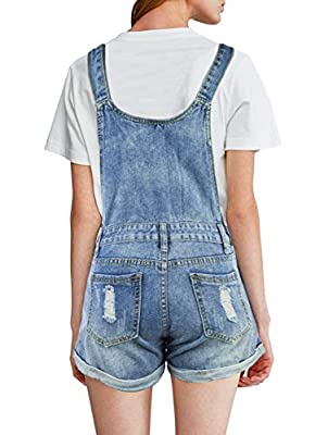 BOJIN Women's Denim Overall Shorts Mid Rise with Frayed Row Hem Distressed Ripped Jean Shorts