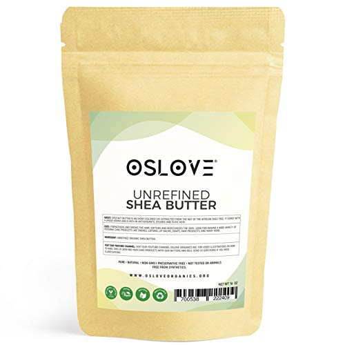 Organic Unrefined Shea Butter 1 LB by Oslove Organics -Raw, African,100% Pure, Non-GMO, Hand packed, Fresh, Rich and Creamy (Best Way To Treat Sunburn Without Peeling)