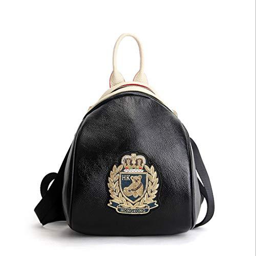 à Black 24 Black Femmes Main Badge Mesdames Sacs à en 29 Golden golden Badge des Dos à Cuir 14cm Dos Badge Sac d'ours Cuir Couleur Sac en Voyage awf4qwx