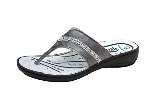 Ladies 3481 Kombi Gr Removable 36 Gray 9943 Flops Algemare Flip 42 Grau Leather Washable dtFwqw