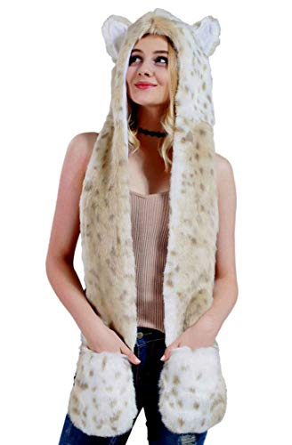 (Snow Leopard Faux Fur Full Animal Hood Hoodie Hat with Paws Mittens Gloves New by)