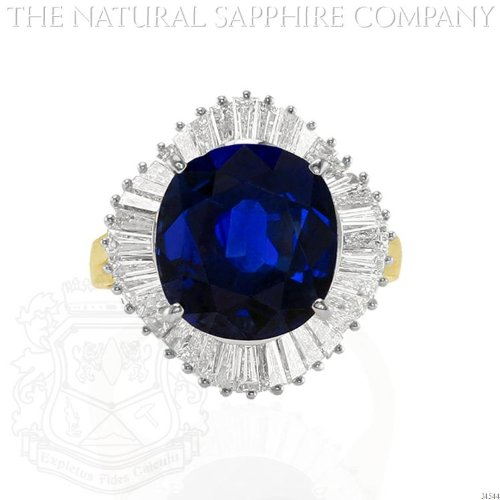 Sapphire Ballerina (18K Yellow and White Gold Ballerina Ring with Center Cushion Sapphire and Baguette Diamonds. (J4544))