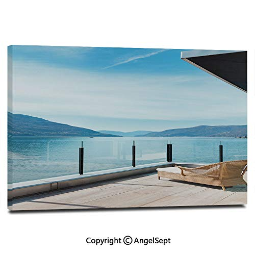 Canvas Prints Modern Art Framed Wall Mural Penthouse Terrace with Ocean Sea and Mountain Landscape Photo Wall Decorations for Living Room Bedroom Dining Room Bathroom Office,Sky Blue Black and White ()