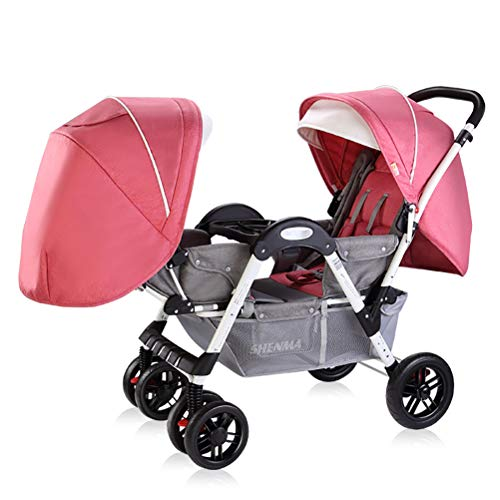 ZZLYY Double Baby Stroller by – Twin Lightweight Infant Stroller with Carry Handle – Travel Stroller – Tandem Seats,Pink