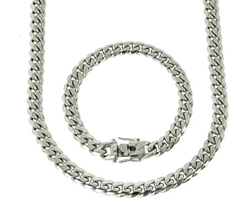 (Solid Silver Finish Stainless Steel 10mm Thick Miami Cuban Link Chain Box Clasp Lock (Chain 24'' & Bracelet 9''))