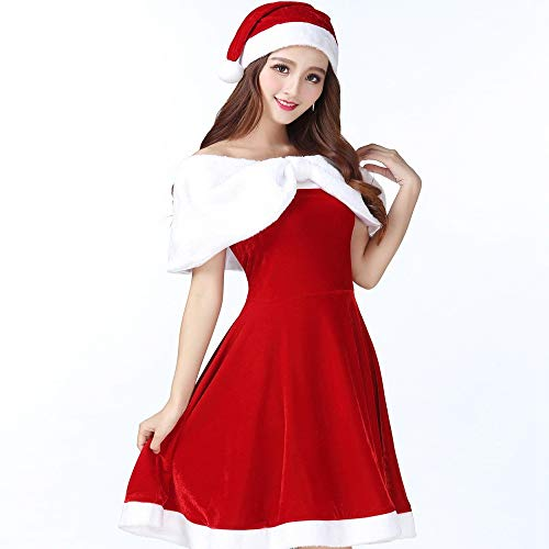 Yunfeng Women Santa Claus Costume Adult Christmas Costume Halloween Flocking Christmas Girl Big Code Cosplay Stage Performance Set Fancy Dress Adult Christmas Party Cosplay -