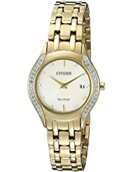 Citizen Womens Eco-Drive Stainless Steel Watch with Diamond Accent, GA1062-51P