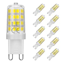 LE 10 Pack G9 LED Light Bulb, Replace 50W Halogen Bulb, 5W, 360° Beam Angle, 340lm, Daylight White, 5000K, Non-dimmable, Corn Light Bulb