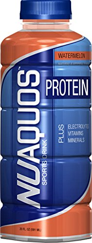 NuAquos Electrolyte Sports Drink with Protein, Watermelon, 20 Ounce (12 Count)