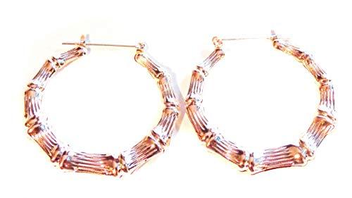 Bamboo Hoop Earrings Rose Gold Bamboo 2 inch Hoop Earrings Full Hoop