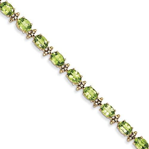 Or 14ct Peridot-Bracelet Femme-17,8cm-7mm-Fermoir-16