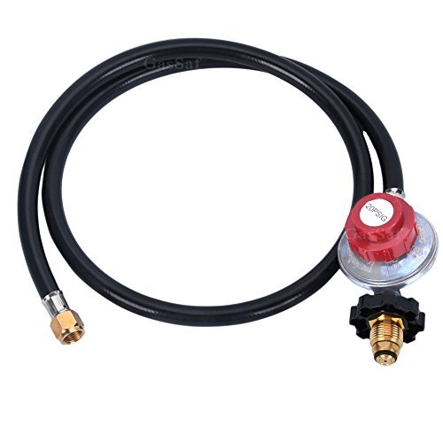 GasSaf 4FT High Pressure Propane Regulator POL Grill Connector with CSA Certified Hose for Propane Burner Turkey Fryer Smoker and More Appliances-3/8 Female Flare Swivel Fitting