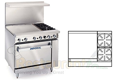 Imperial Commercial Restaurant Range 36'' With 2Burners 24''Griddle 1 Convection Oven Natgas Ir-2-G24-C by Imperial