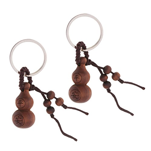 Flameer Solid Wooden Gourds Pendant Key Ring Keychain Car Key Bag Hanging Handmade - Hazelin, as Described -