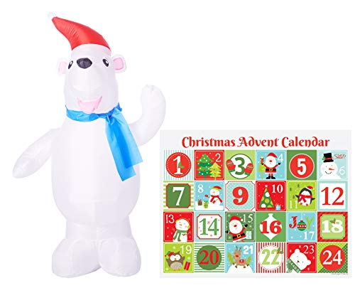 Holiday Shop Christmas Inflatables Outdoor Decoration Advent Calendar Gift Set, Christmas Inflatable Decoration, Outdoor Indoor Decoration, Lawn Christmas Decor (Polar Bear)