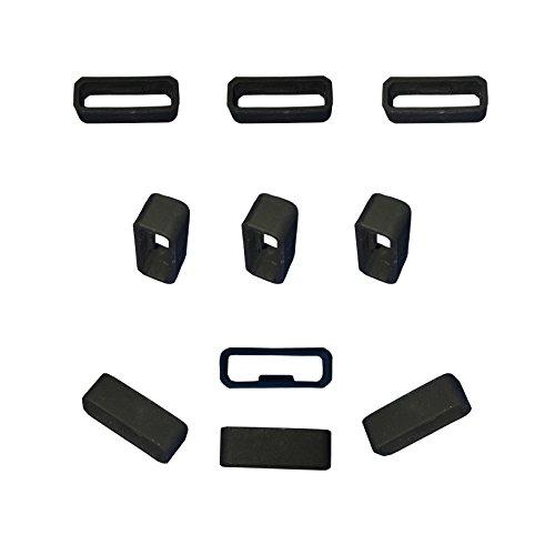 RuenTech Replacement Fastener Ring For Garmin Vivosmart HR/HR+ Bands(Pack of 10) Silicone Connector Security Loop for Vivosmart hr and Vivosmart hr plus(Black)