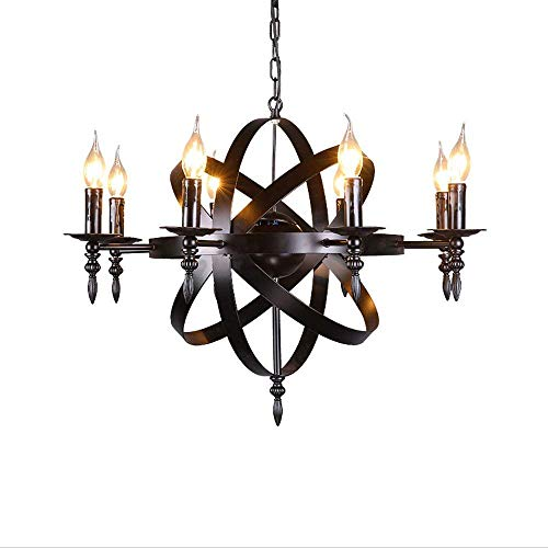 Medieval Pendant Round Candle Chandelier Ceiling Pendant Light Black Castle Style Wrought Iron Massive Size for a Living Room Hallway or Country House Chandelier, Diameter 70cm,Total Height 100cm - Medieval Dragon Pendant