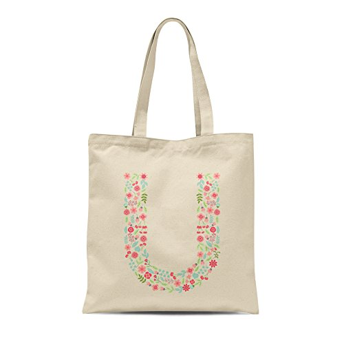 Personalised Floral Alphabet Tote Bag Any Letter Shopper Birthday Gift Present Letter U