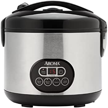 Aroma Housewares Professional 12-Cup (Cooked)  (6-Cup UNCOOKED) Digital Rice Cooker and Food Steamer, Stainless Steel Exterior (ARC-926SBD)