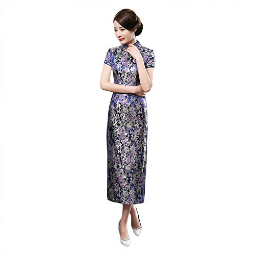 ZooBoo Chinese Cheongsam Qipao Dress - Oriental Traditional Wedding Outfit Clothing Costume for Girls Women - Brocade (XXL, Dark blue) by ZooBoo