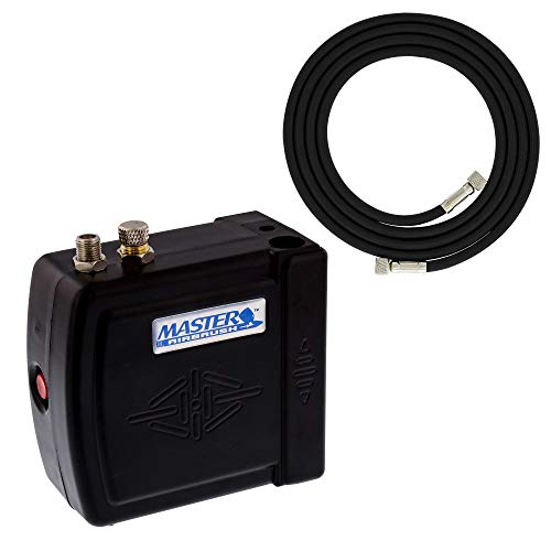 Master Airbrush Multi-Purpose Mini Airbrush Compressor with Air Hose and Brus.