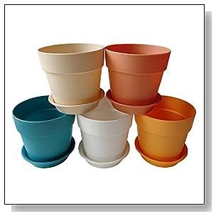 Axe Sickle 3.9x3.5 inches Colorful Plastic Planters, Indoor Flower Pot, Mini Plastic Flower Seedlings Nursery Pot, Garden Plant Pot Home Decoration, Flower Pot with Pallet (5 Pcs)