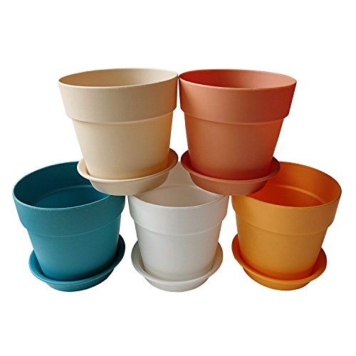 AxeSickle 3.9x3.5 inches Colorful Plastic Plant Pots Planter,Mini resin plastic flower seedlings nursery pot,Garden Plant Pot Home Decoration,Flower Pot with Pallet(5 Pcs)