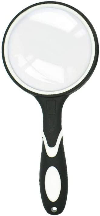 Magnifying Mirror for Book Newspaper Reading Insect and Hobby Observation Handheld Reading Magnifier with Black Non-Slip Soft Rubber Handle CUNYA 3in Large Magnifying Glasses Lens 10X 1pc