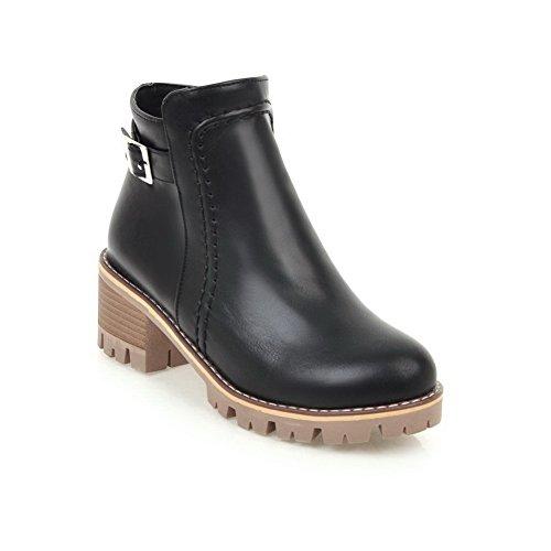 AdeeSu Womens Buckle Zip Bootie Urethane Boots SXC02408 Black