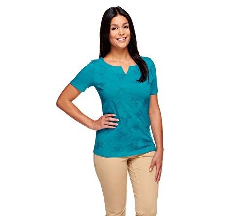 Liz Claiborne NY Split Neck Embroidered Short SLV Knit Top Teal XS # A253752 Liz Claiborne Woman Blouse
