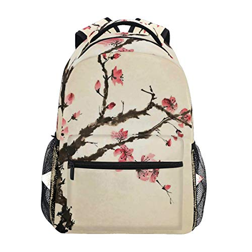 YCHY Traditional Chinese Paint of Figural Tree with Details Brushstroke Effects Print Lightweight School Backpack Students College Bag Travel Hiking Camping Bags - Light Figural