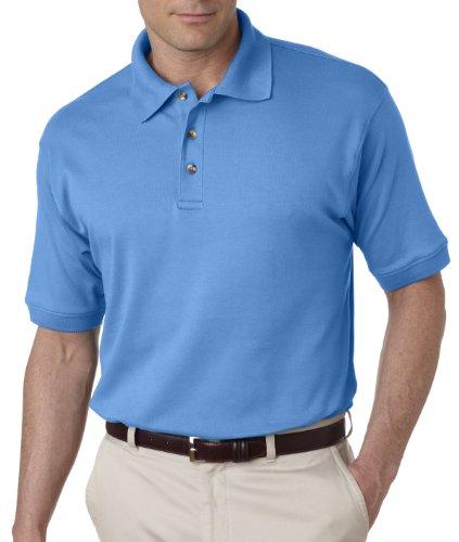 UltraClub Egyptian Interlock Solid Polo Shirt Men's 8505 XL Cornflower