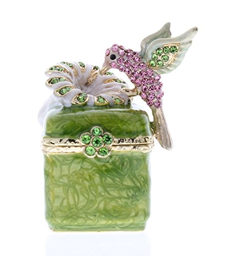 (Humming Bird on Flower Sitting on Box, Hand Set Green & Pink Swarovski Crystal, Hand Painted Brushy Green Enamel Over Pewter, L 2.00 X H 2.00 X W 1.25)