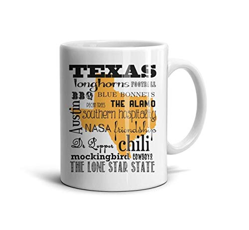 FGBLK The Lone Star State Bottom Text Black Coffee Cups White Design 11 oz Coffee Mugs