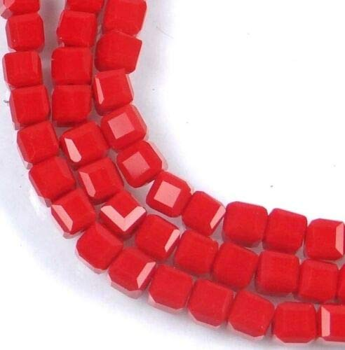 - (50 Beads) 3mm Czech Firepolish Glass Faceted Cube Beads - Opaque Red